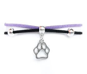 Choker czarno-fioletowy z psią łapką