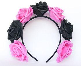 OPASKA DUŻA czarno ciemno różowa