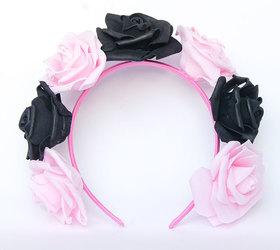 OPASKA DUŻA czarno jasno różowa