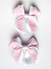 Kokardka biało różowe serduszka