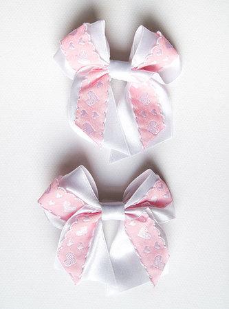 Kokardka biało różowe serduszka (1)