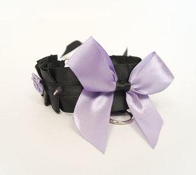 OBRÓŻKA czarno fioletowa z kolcami i różyczkami