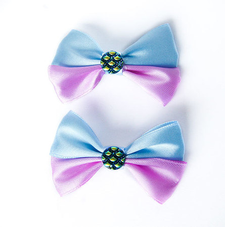 Kokardka niebiesko fioletowa z syrenim oczkiem (1)