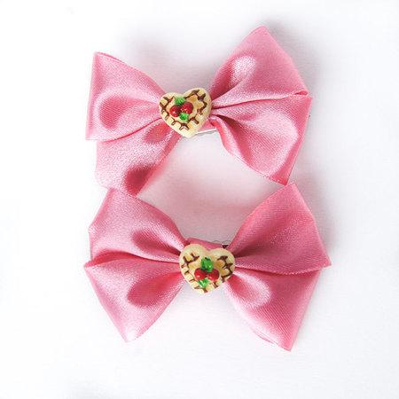 Kokardka różowa z ciasteczkiem (1)