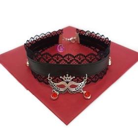 KORONKOWY CHOKER z maską i czerwonymi diamencikami