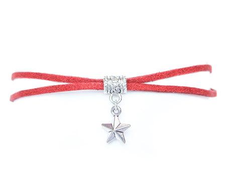 Choker brokatowy czerwony z gwiazdką (1)