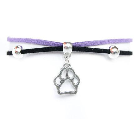 Choker czarno-fioletowy z psią łapką (1)