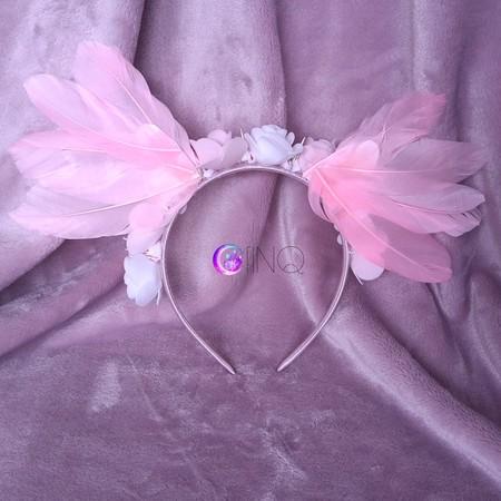 Pink angel - opaska z różowymi skrzydłami (2)