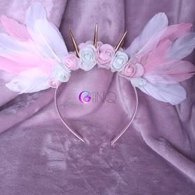 White&Pink Angel - opaska z białymi i różowymi skrzydłami