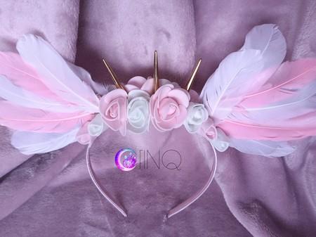 White&Pink Angel - opaska z białymi i różowymi skrzydłami (2)