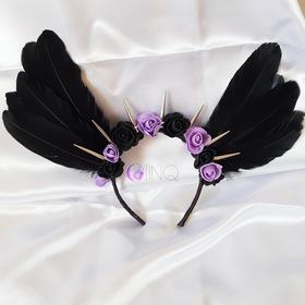 Black and purple angel - opaska z czarnymi skrzydłami