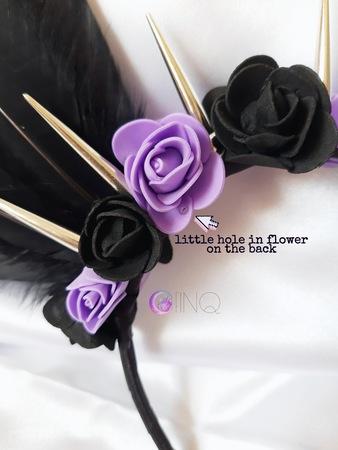 Black and purple angel - opaska z czarnymi skrzydłami (2)