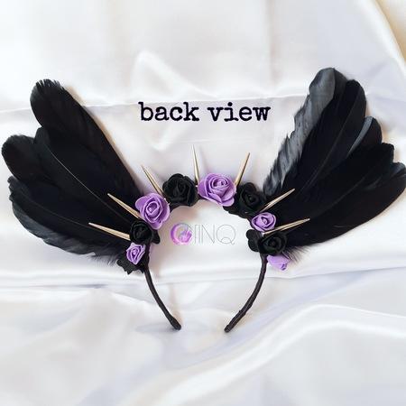 Black and purple angel - opaska z czarnymi skrzydłami (3)
