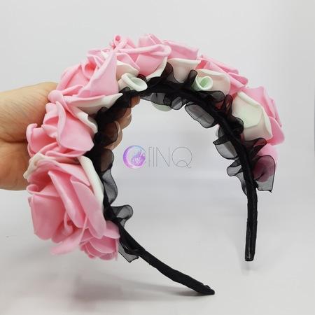OPASKA Różowa z miętowymi liśćmi i czarną organzą (2)