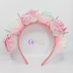 OPASKA Różowo-miętowa z kolcami