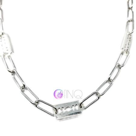 Gruby łańcuch na szyję - żyletki (2)